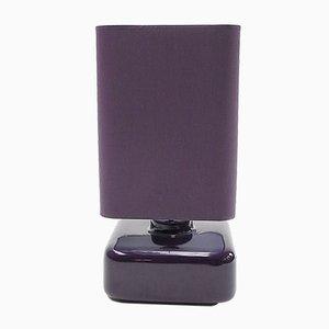 Violette Quadra Tischlampe aus Keramik mit Schirm aus Baumwolle, 1970er
