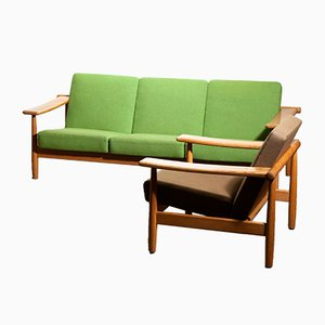 Getama Style Danish Oak Sofa & Lounge Chair, 1960s
