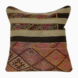 Pastel Wool Handwoven Kilim Pillow Cover from Vintage Pillow Store Contemporary