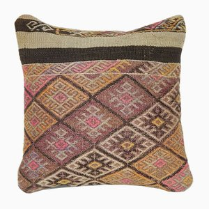Turkish Handwoven Bohemian Faded Wool Kilim Pillow Cover from Vintage Pillow Store Contemporary