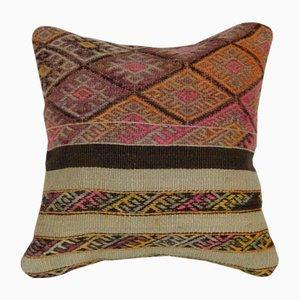 Funda de cojín Kilim turca de lana naranja y rosa de Vintage Pillow Store Contemporary
