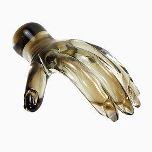 Escultura de mano de vidrio de Seguso, años 60