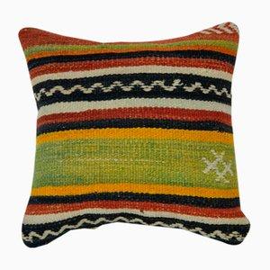 Gestreifter türkischer Kelim Kissenbezug aus Wolle von Vintage Pillow Store Comtemporary