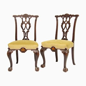 Mahogany Chairs with Wood Inlay, 1860s, Set of 2