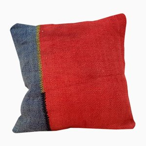 Handwoven Red Wool Kilim Pillow Cover from Vintage Pillow Store Contemporary