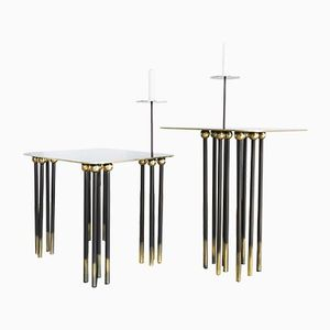 Italian Brass Shibuya Coffee Table Set by Alessandro Iovine, 2018
