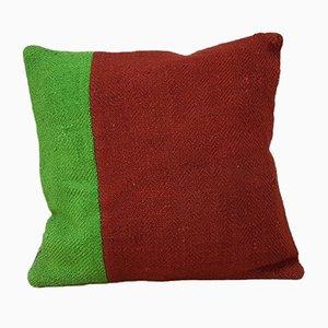 Handgemachter grüner Kelim Kissenbezug aus Wolle von Vintage Pillow Store Contemporary