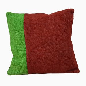 Housse de Coussin Kilim en Laine Verte Artisanale de Vintage Pillow Store Contemporary