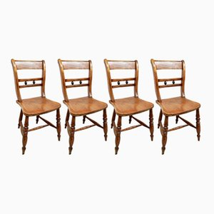 Antique Windsor Barback Kitchen Chairs, Set of 4