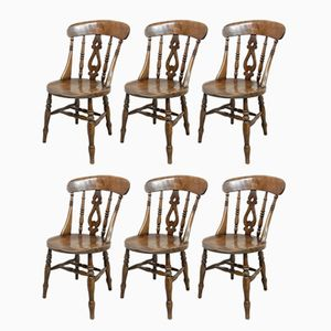 Antique Windsor Kitchen Chairs, Set of 6