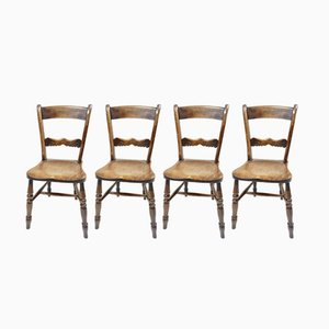 19th-Century Kitchen Chairs, Set of 4