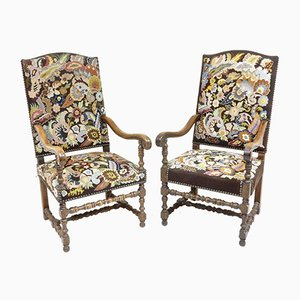 Antique French Lounge Chairs, Set of 2
