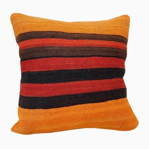 Orange Turkish Kilim Cushion Cover from Vintage Pillow Store Contemporary