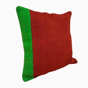 Grün-roter Kissenbezug aus Wolle von Vintage Pillow Store Contemporary