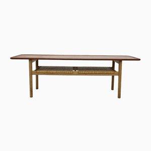 Table Basse Modèle AT-10 en Teck, Chêne et Jonc par Hans J. Wegner pour Andreas Tuck, 1950s