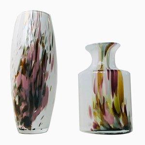 Jarrones daneses vintage de vidrio opalino de Michael Bang para Holmegaard, años 70. Juego de 2