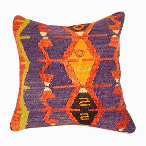 Orangener Kelim Kissenbezug mit Bohemien-Muster von Vintage Pillow Store Contemporary