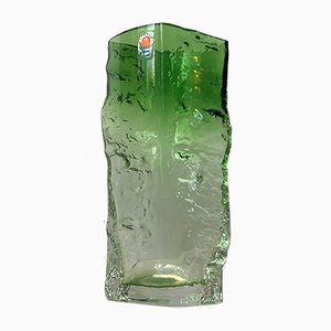 Jarrón vintage de cristal de hielo verde de Kaj Blomqvist para Kumela, años 70
