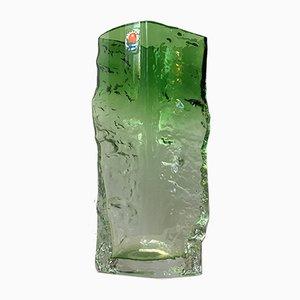 Vase Vintage en Verre Givré Vert par Kaj Blomqvist pour Kumela, 1970s