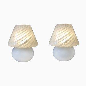 Mid-Century Tischlampen aus Muranoglas mit Wirbelmuster von Gambaro e Poggi für Vetri, 1970er, 2er Set
