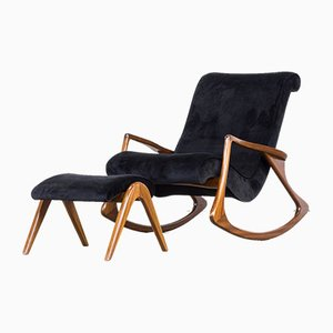 Model 175F and 175GH Rocking Chair with Ottoman by Vladimir Kagan, 1950s