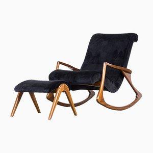 Rocking Chair Modèle 175F et 175GH avec Ottomane par Vladimir Kagan, 1950s