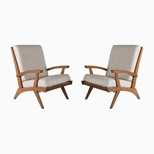 Blond Oak Lounge Chairs from Free-Span, 1952, Set of 2