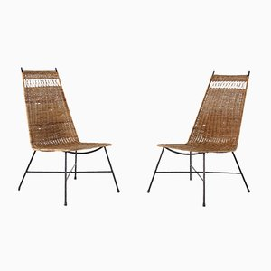 Low Rattan & Steel Chairs, 1950s, Set of 2