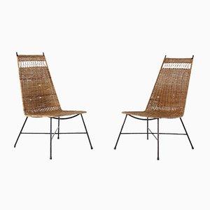 Niedrige Stühle aus Rattan & Stahl, 1950er, 2er Set
