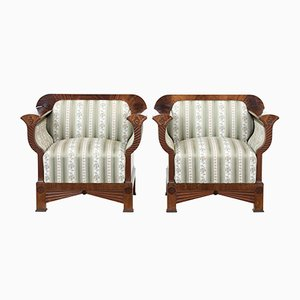 Flame Mahogany Bergere Armchairs, 1940s, Set of 2