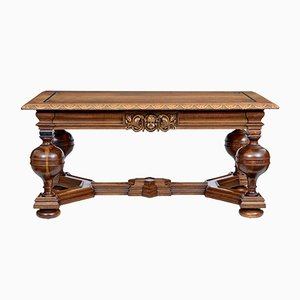 Early 20th Century Carved Oak Library Table from Lysberg, Hansen, & Therp