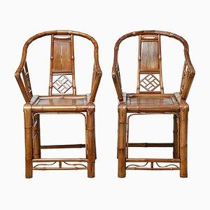 Butacas chinas de bambú, años 20. Juego de 2