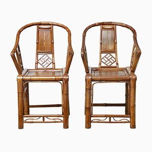 Chinese Bamboo Armchairs, 1920s, Set of 2