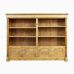 Large Art Deco Scandinavian Birch Bookcase