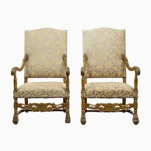 Antique Baroque Throne Armchairs, Set of 2