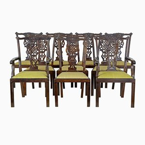 Antique Swedish Birch Chippendale Dining Chairs, Set of 8