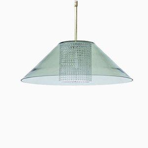 Lámpara colgante sueca de latón y vidrio de Carl Fagerlund para Orrefors, años 60