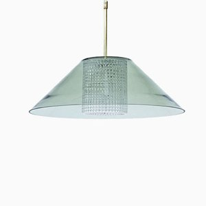 Swedish Brass & Glass Pendant Lamp by Carl Fagerlund for Orrefors, 1960s