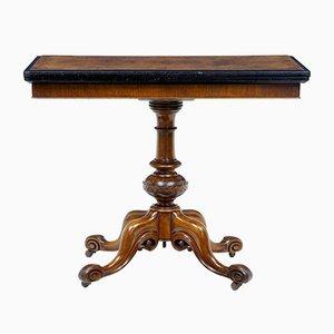 Viktorianischer Kartentisch aus Nussholz, 19. Jh