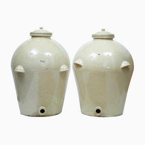 Large Antique Stoneware Alcohol Jars from Doulton, Set of 2