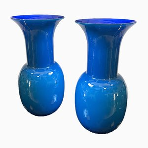 Italian Opaline Murano Glass Vases by Aureliano Toso, Set of 2