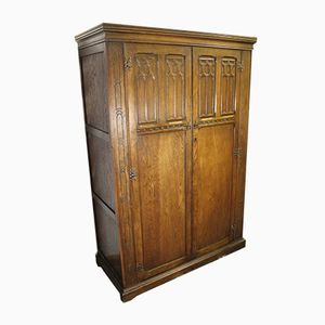 Large 2-Door Oak Linen Wardrobe, 1940s