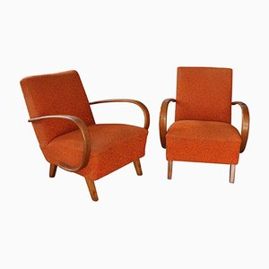 Orange Lounge Chairs by Jindrich Halabala for UP Zavody, 1930s, Set of 2