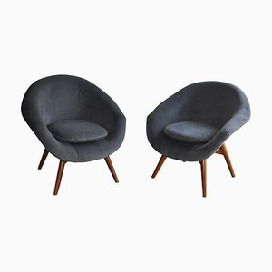 Vintage Velvet Chairs by Miroslav Navratil, 1950s, Set of 2