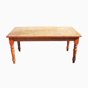 Rustic Pine Table on Turned Legs, 1960s