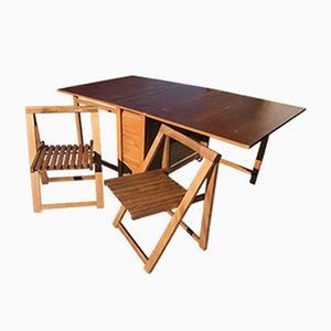 Klappbarer ungarischer Esstisch im Lingel-Stil mit 2 Stühlen, ca. 1960er