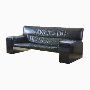 Black Leather Brigadier Sofa by Cini Boeri for Knoll, 1970s