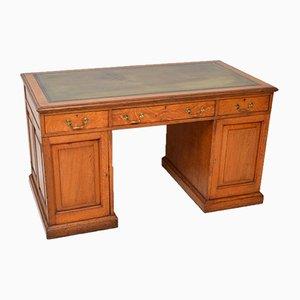 Antiker viktorianischer Säulen-Schreibtisch aus goldfarbenem Eichenholz