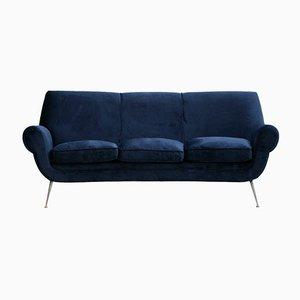 Italian Navy Blue Cotton Velvet Curved Sofa by Gigi Radice for Minotti, 1950s