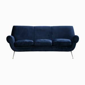 Sofá italiano curvado de terciopelo de algodón azul marino de Gigi Radice para Minotti, años 50